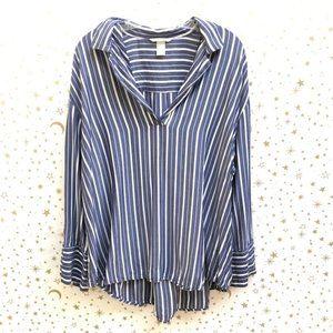 H&M Career Wear Long Sleeve Striped Blouse